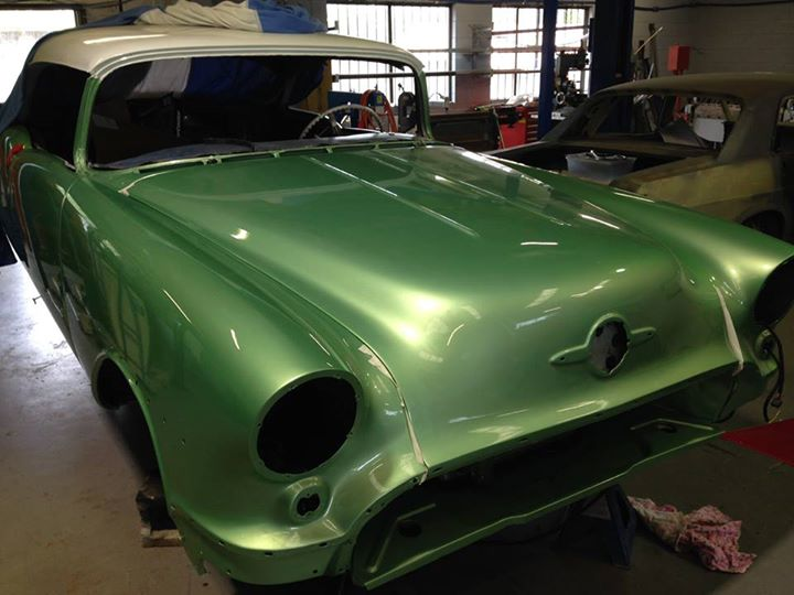 Roland re-built the bonnet hinges for this 56 Olds...what a painful job that was!