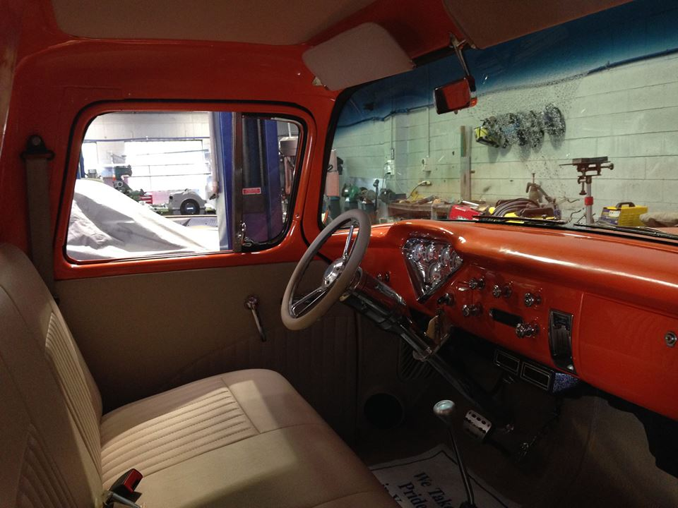 The trim in the '55 Chevy pickup is in...the owner is picking it up next week and dropping off a F1 pickup for us to start on.