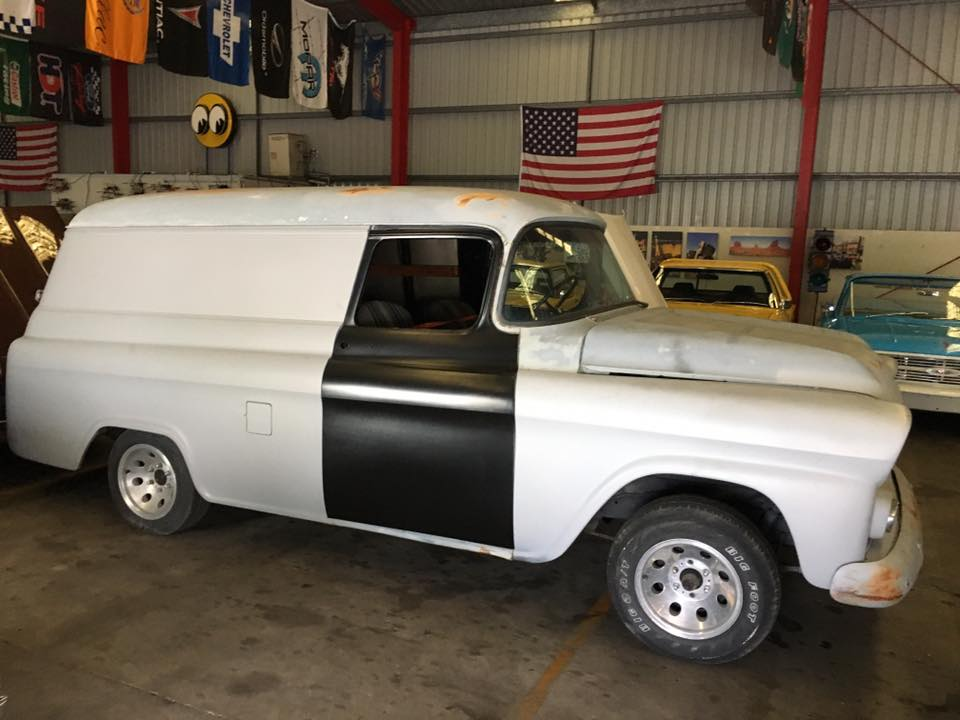 1959 Chevrolet Panel Truck - LS drivetrain Mustang 2 front end - Ol' School Garage (2).jpg