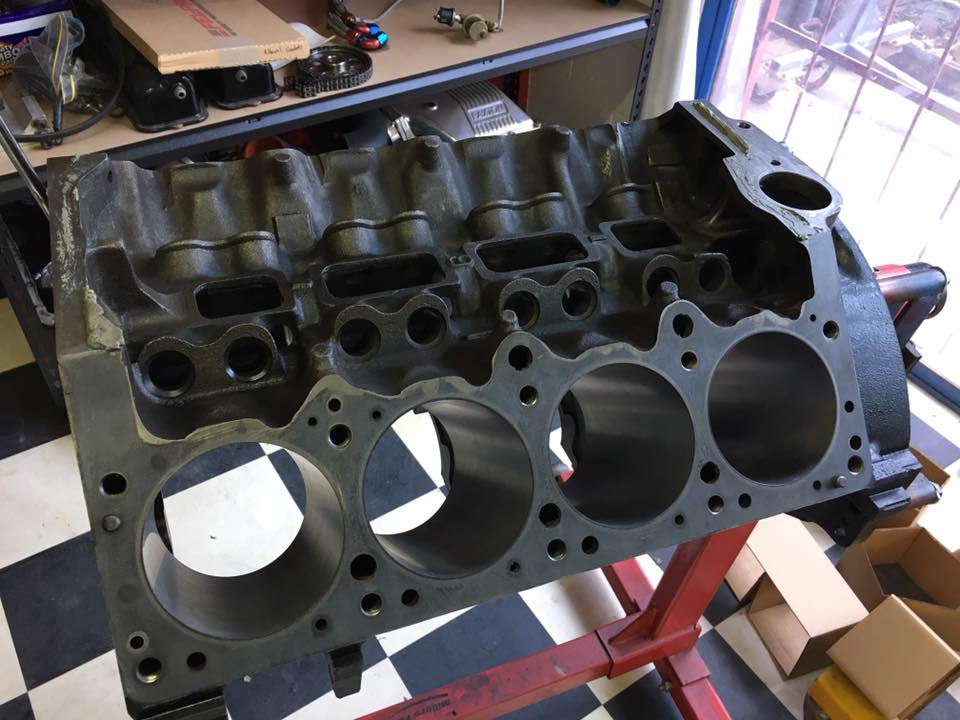 The block has been honed to the size of the new forged pistons.
