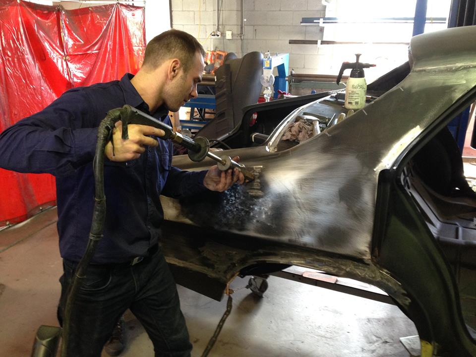 Once the accident and rust repair is complete, Roland works his way around the car fine tuning panels and adjusting panel gaps. We pride ourselves on being great metal workers. This is important, as work done here limits the amount of filler required in the paint shop.
