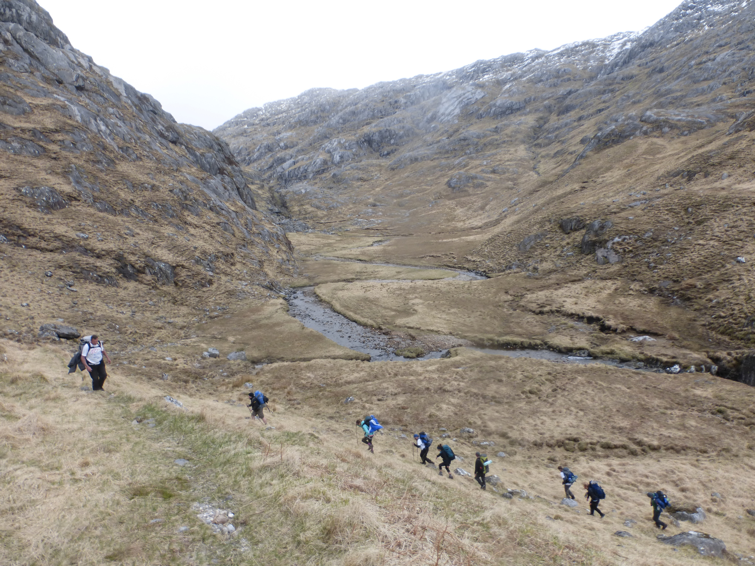 Follow the leader - the team make their way towards the path which descends steeply into Loch Nevis