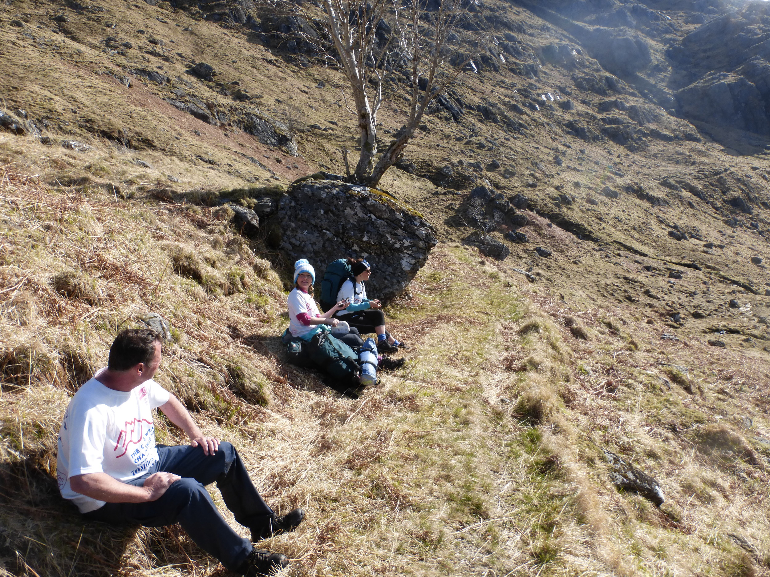 Niall, Donna & Ellie take a well earned rest after the climb from the River Carnoch