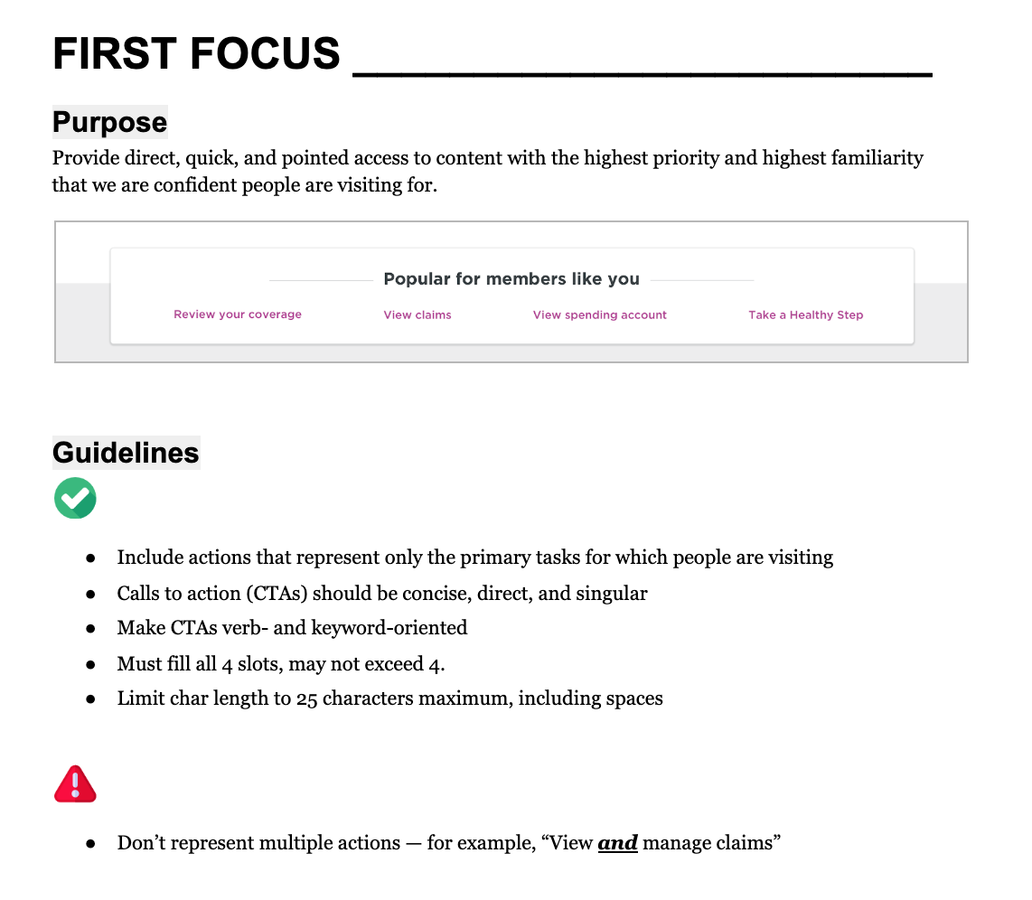 "Excerpted guidelines for a homepage section that we called ""First Focus."""
