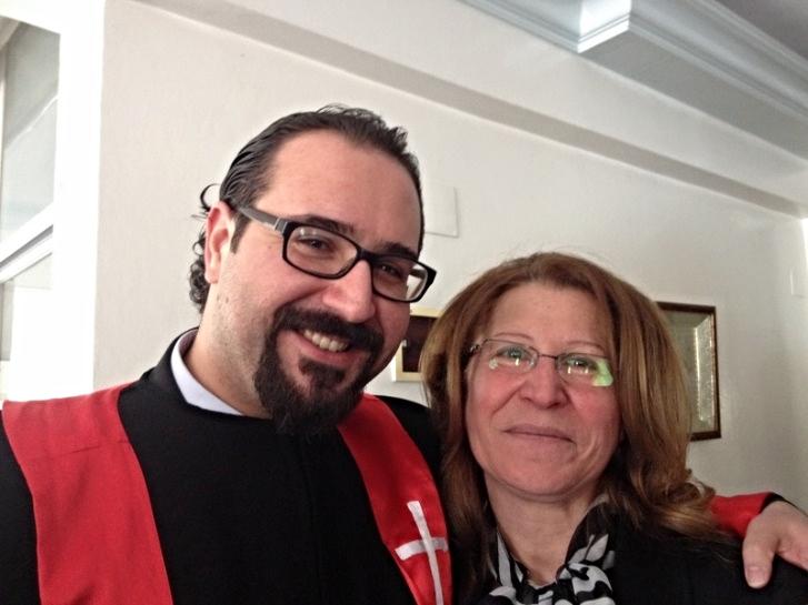 Rev. Yacoub and his mother, Wafa