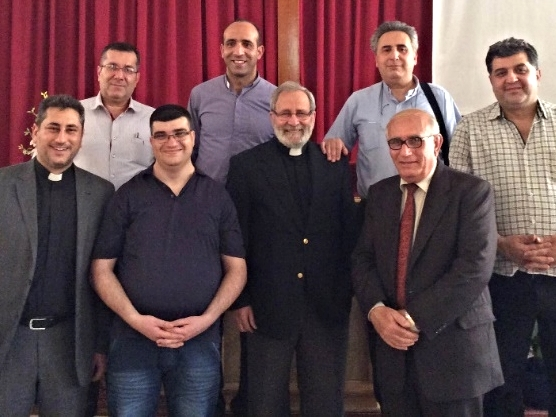 The Synod Team  Rev. Ghantous, top row, 2nd from left, Rev.Kassab, top row, 3rd from left; Rev. Tomeh, front row, 3rd from left; Rev. Farah, front row left and the four elders of Hasakah church who must lead their congregation in the absence of a full-time pastor