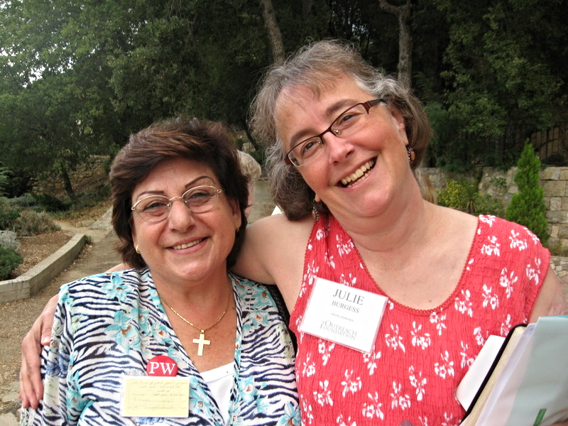 Elder Elham from Sidon, Lebanon, and Julie from Omaha, Nebraska, get to know each other at the 2010 women's conference at Dhour Schweir in Lebanon.