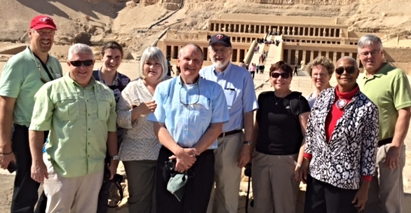 Here's the team in front of Hatshepsut's mortuary temple that she built for her own mummification. Her tomb is separate from the mortuary.