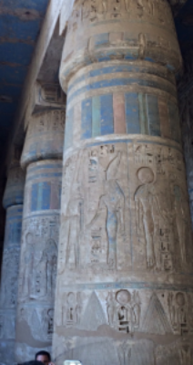 This shows the intact color on temple columns built around 1100 BC. Note the vibrancy and richness of paint that is more than 3,000 years old.