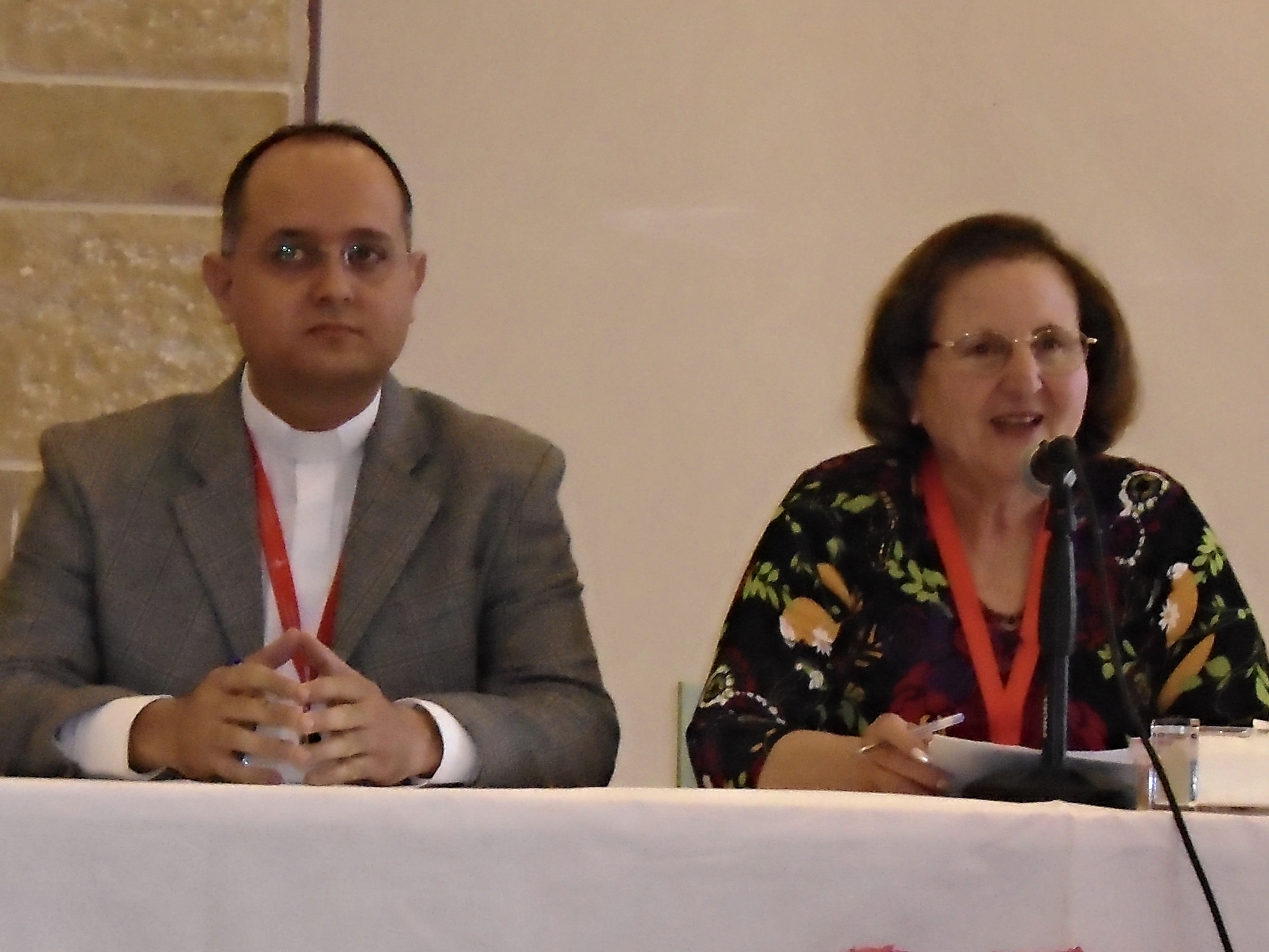 Rev. Salam Hanna, pastor of the church in Lattakia and head of the Synod Relief Committee, and Mary Mikhael, former president of NEST and communication chair for the Synod Relief Committee.