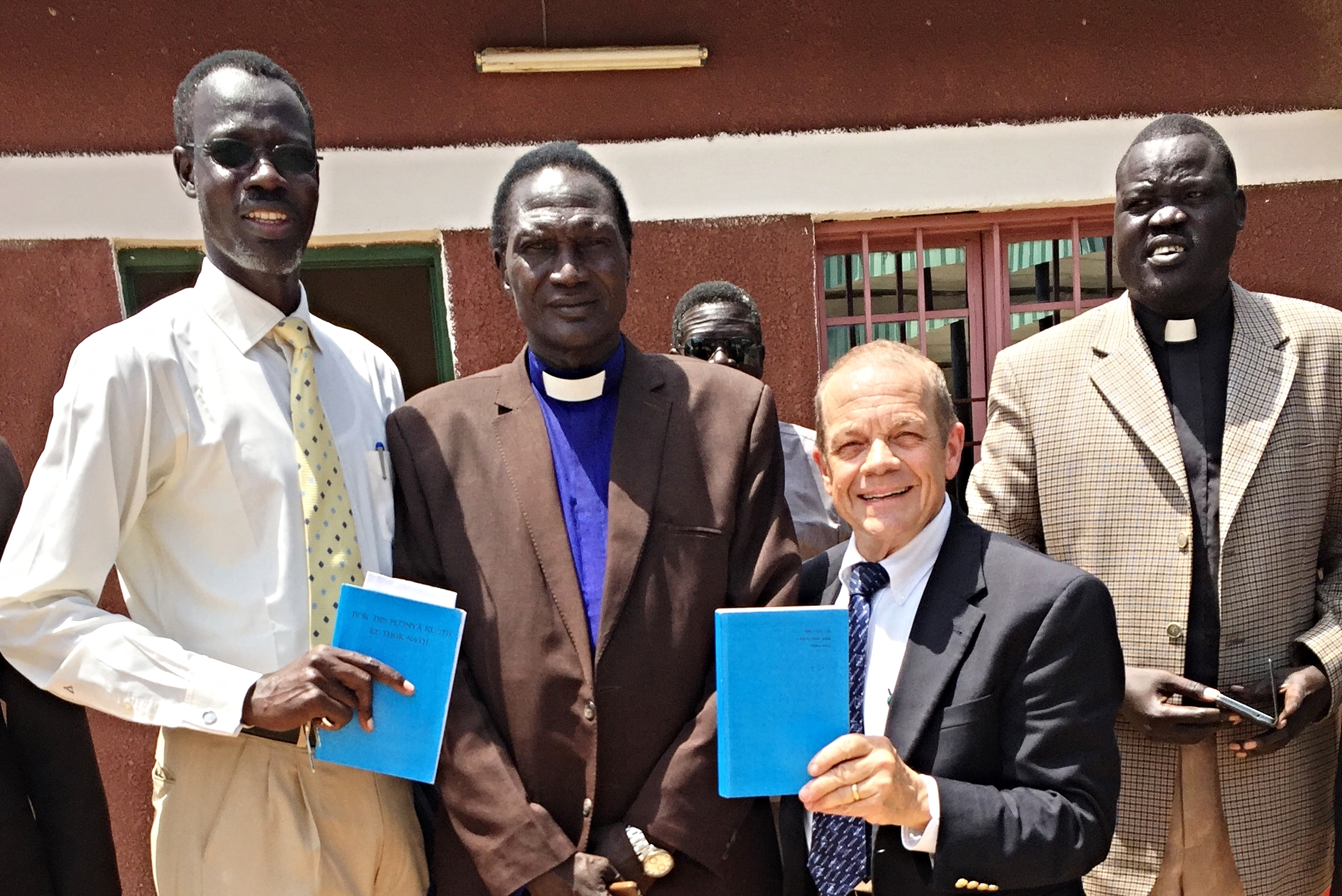 From left to right, The Rev. Tut Mai, Lecturer at Nile Theological College, Juba; the Rev. Paul Ruot Kor, senior pastor, Jebel Church; Jeff; the Rev. James Manyang, pastor overseeing Sudanese congregations in Egypt (and colleague of our Egyptian participants)