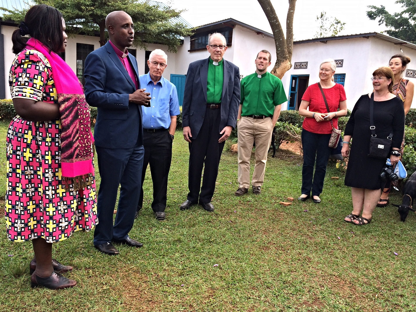 From left, Rev. Julie Kandema, Vice-President of the Presbyterian Church of Rwanda, Rev. Jerome Bizimana, Rob Weingartner and other members of the Outreach team on a recent visit to Rwanda.