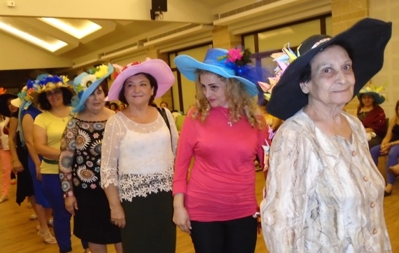 The line up of Miss Hat Thing finalists.The winner, Yola of Damascus, is fifth from the right.