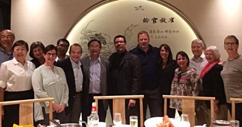 Our dinner with Shi Li (David) and Chen Xiangsheng from the Jiangsu Christian Council