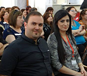 Micheline Koudmani with her husband, Rev. Mofid Karajili