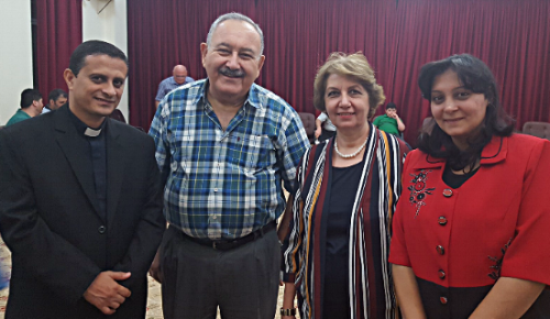 Rev. Amgad; Elder Zuhair; Balsam, women's leader; Amgad's wife, Mary