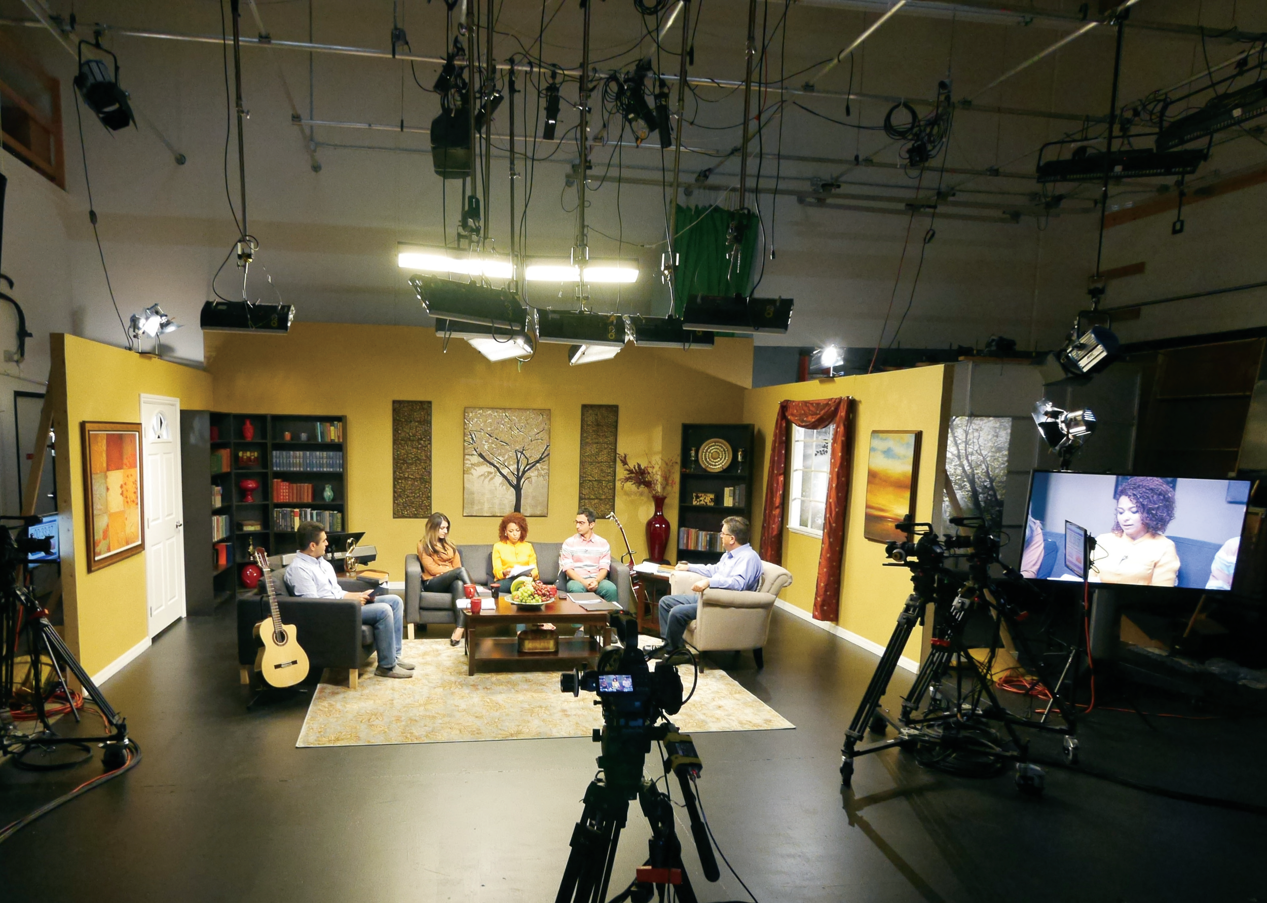 Taping a house church program in the U.S. for broadcast in Iran.