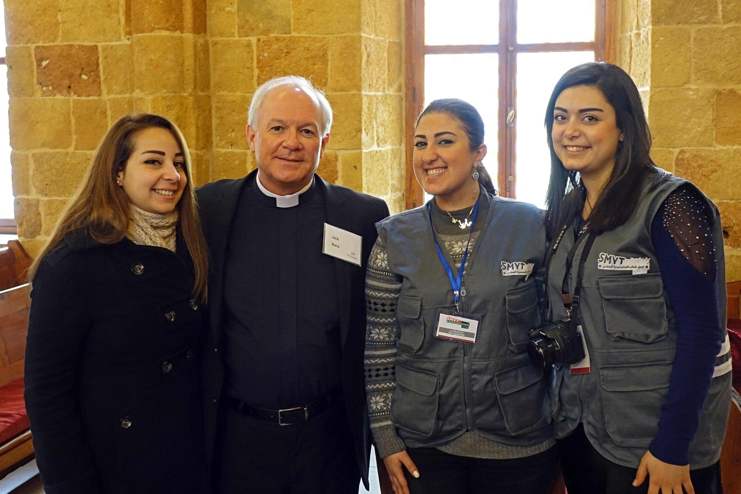 Jack Baca   with   new Syrian friends at the Latakia Presbyterian Church.