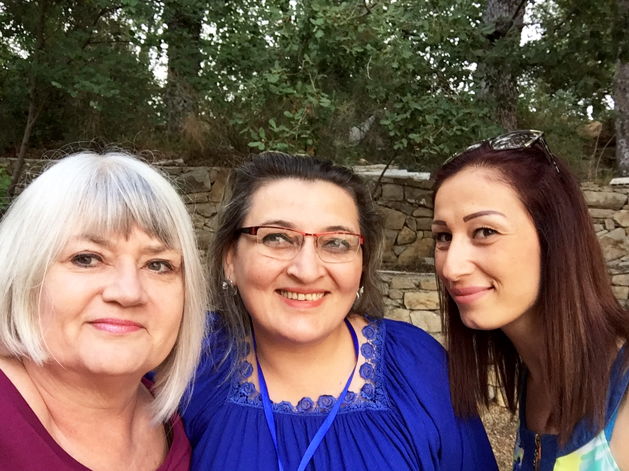 Saying goodbye to my new friends from the Presbyterian Church in Banyas, Syria: Georgette and Neena.