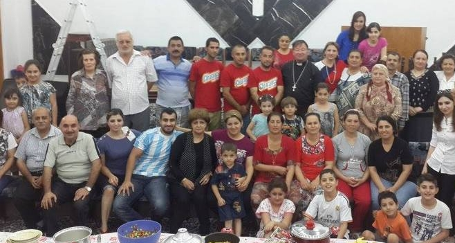 Some of those who found refuge in the Kirkuk church.