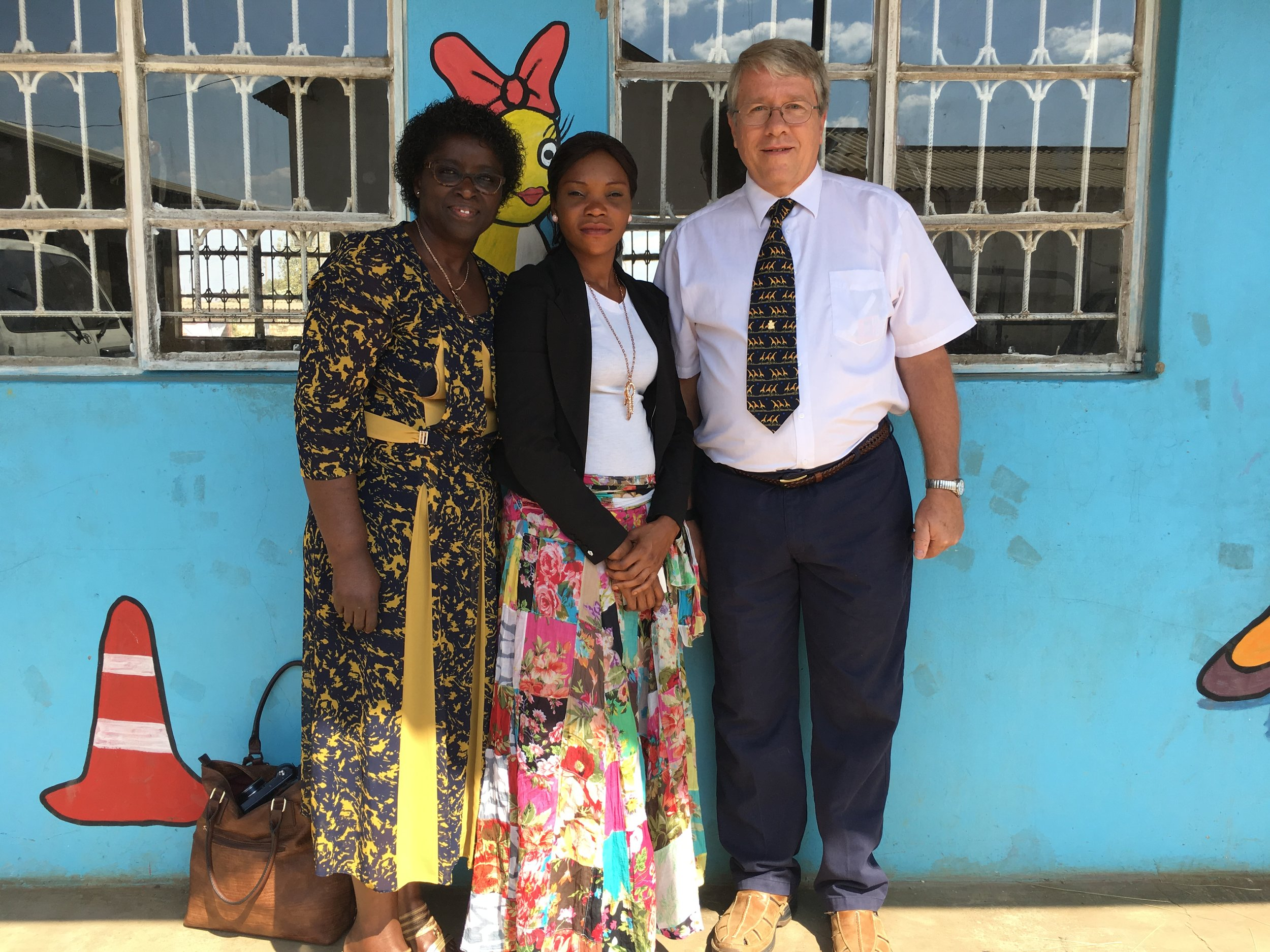 CCAP Zambia community school leader with Ebralie Mwizerwa and Frank Dimmock