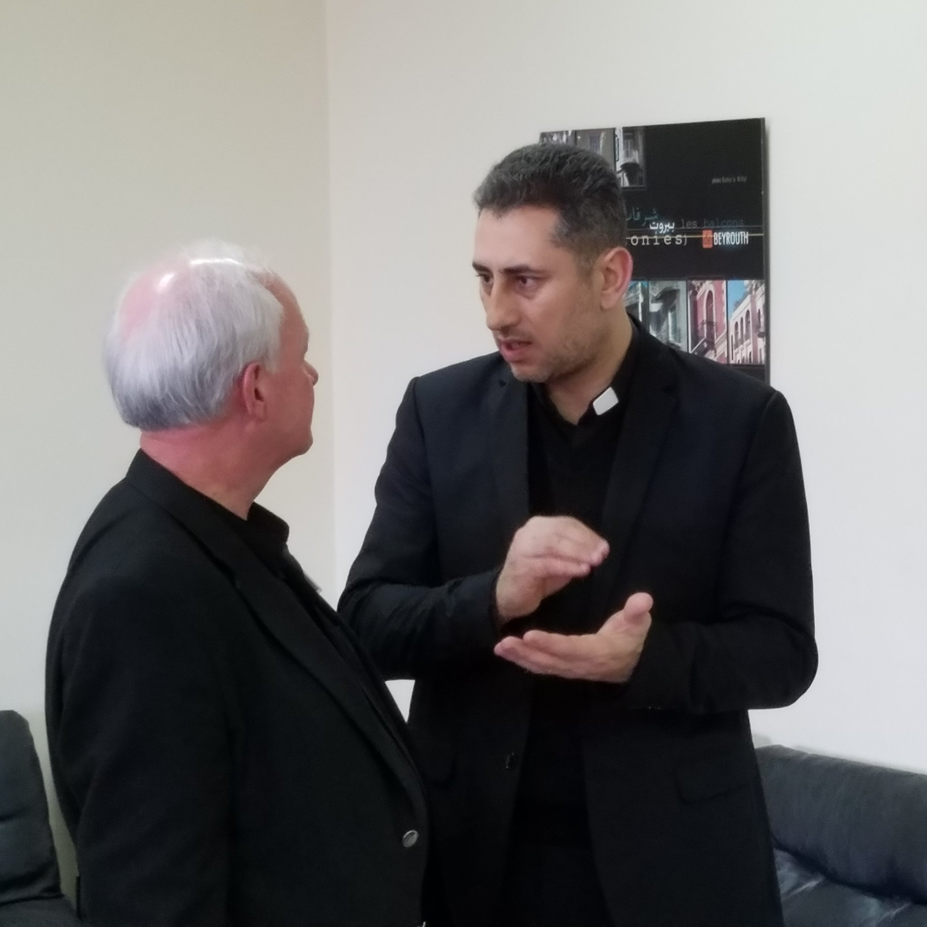 Jack Baca listens to Rev. Firas Ferah from Qamishli in the northeast of Syria.