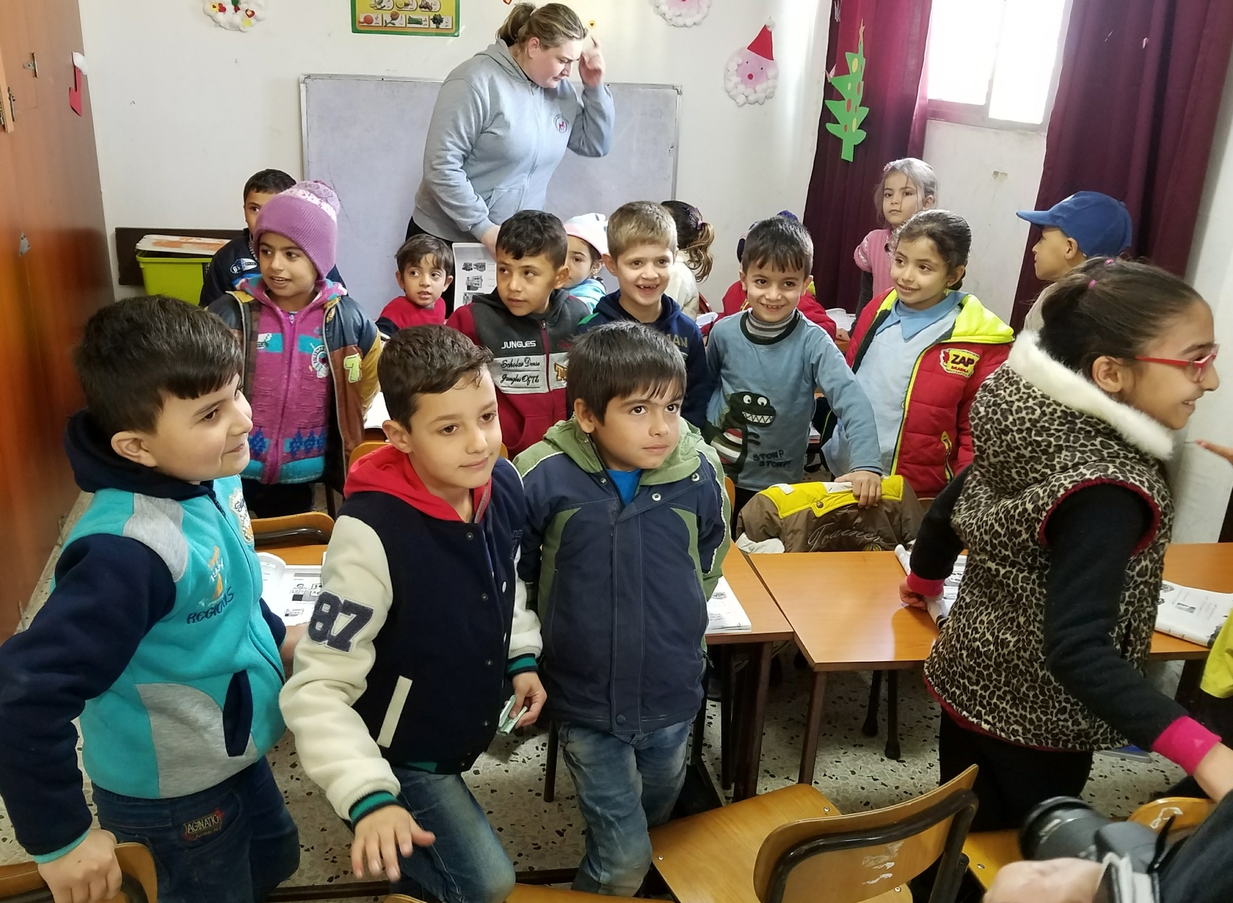 First grade classroom in Tyre tucked in space at the back of the sanctuary