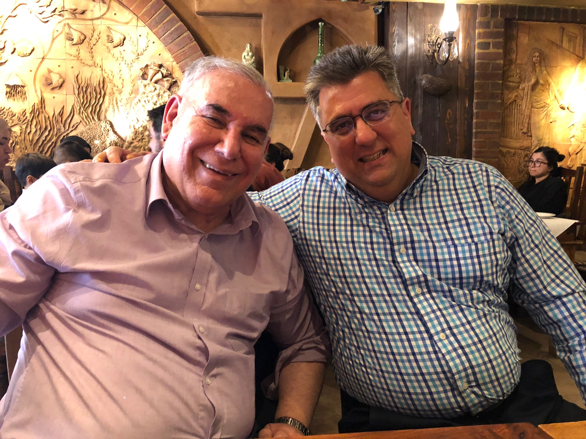 Sasan with Brother Edward of the North London Iranian Church, whose brother was executed in Iran for his belief in Jesus. Brother Edward is strong in the House church movement.
