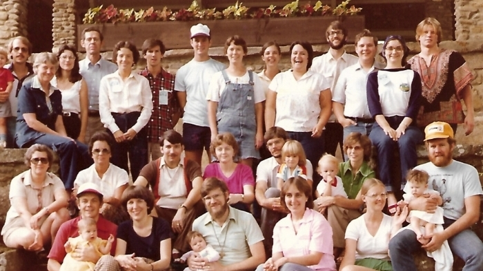 Missionary appointees of the PCUS in 1980. The Longs are on the front row with their daughter, Elizabeth, and the Ritchies are to their left with their daughter, Kate.