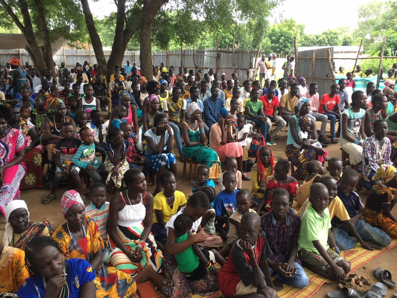 Outdoor worship service with the Anywa congregation from East Gambella Bethel Synod