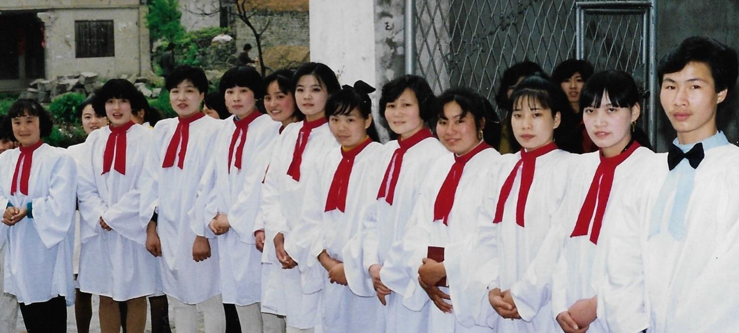 Choir welcoming us in Wenzhou in 1993