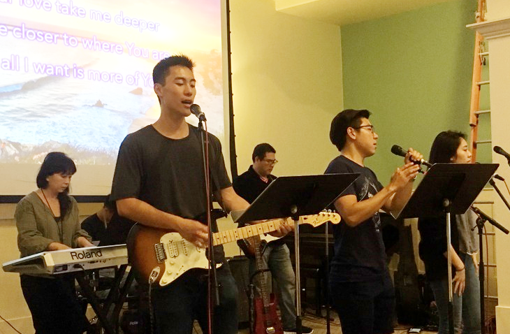 Taiwanese American young people leading worship