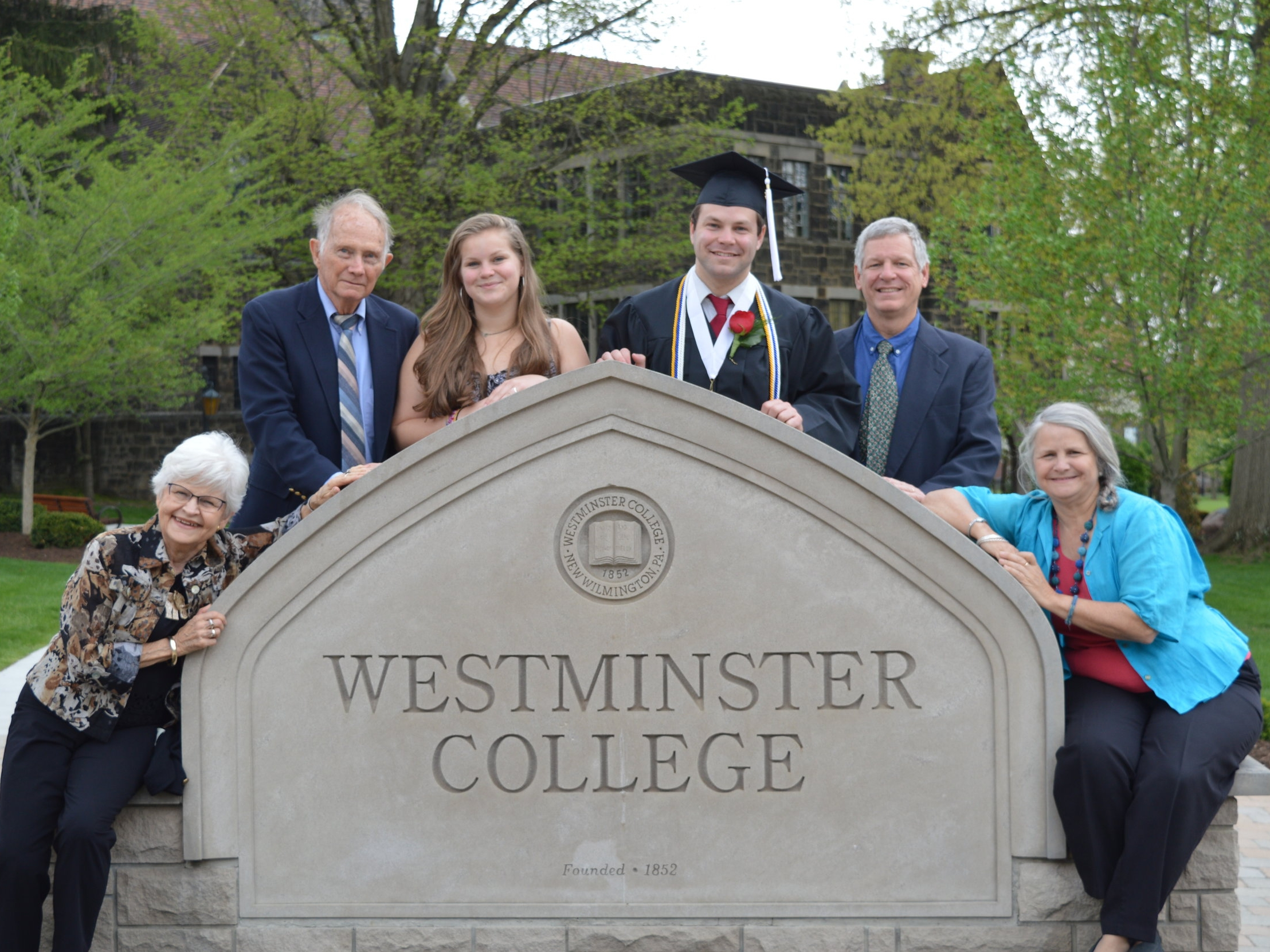 Attending Robert's college graduation with grandparents Bill and Nancy Warlick