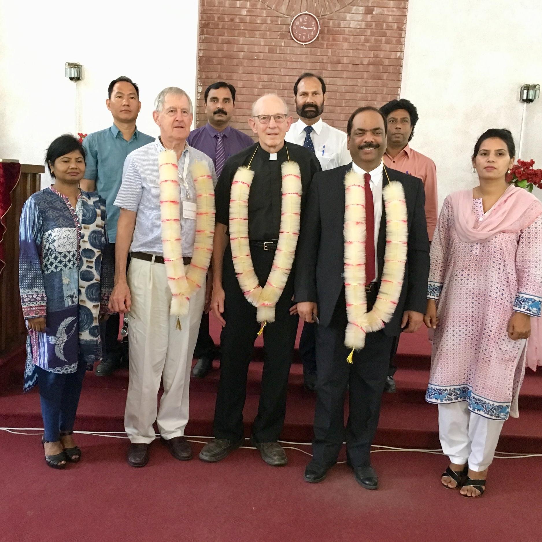 Rob and Richard with PCP Moderator Majid Abel and faculty at Gujranwala Theological Seminary