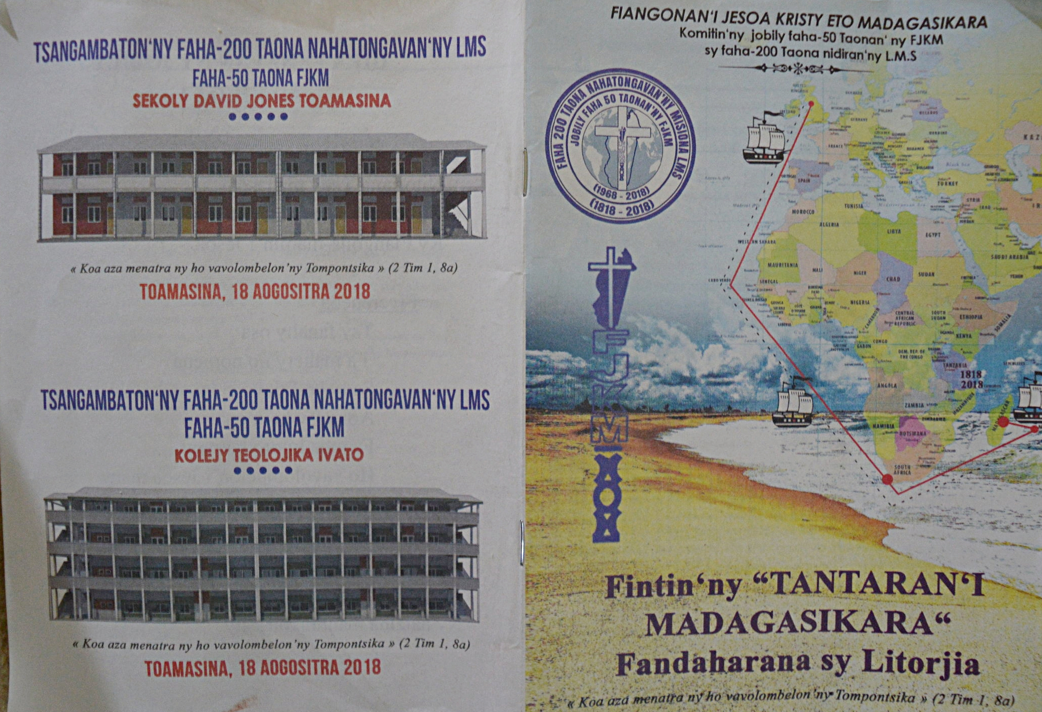 The worship bulletin for the celebration of the 50th anniversary of the FJKM and the 200th anniversary of the arrival of the first missionaries in Madagascar