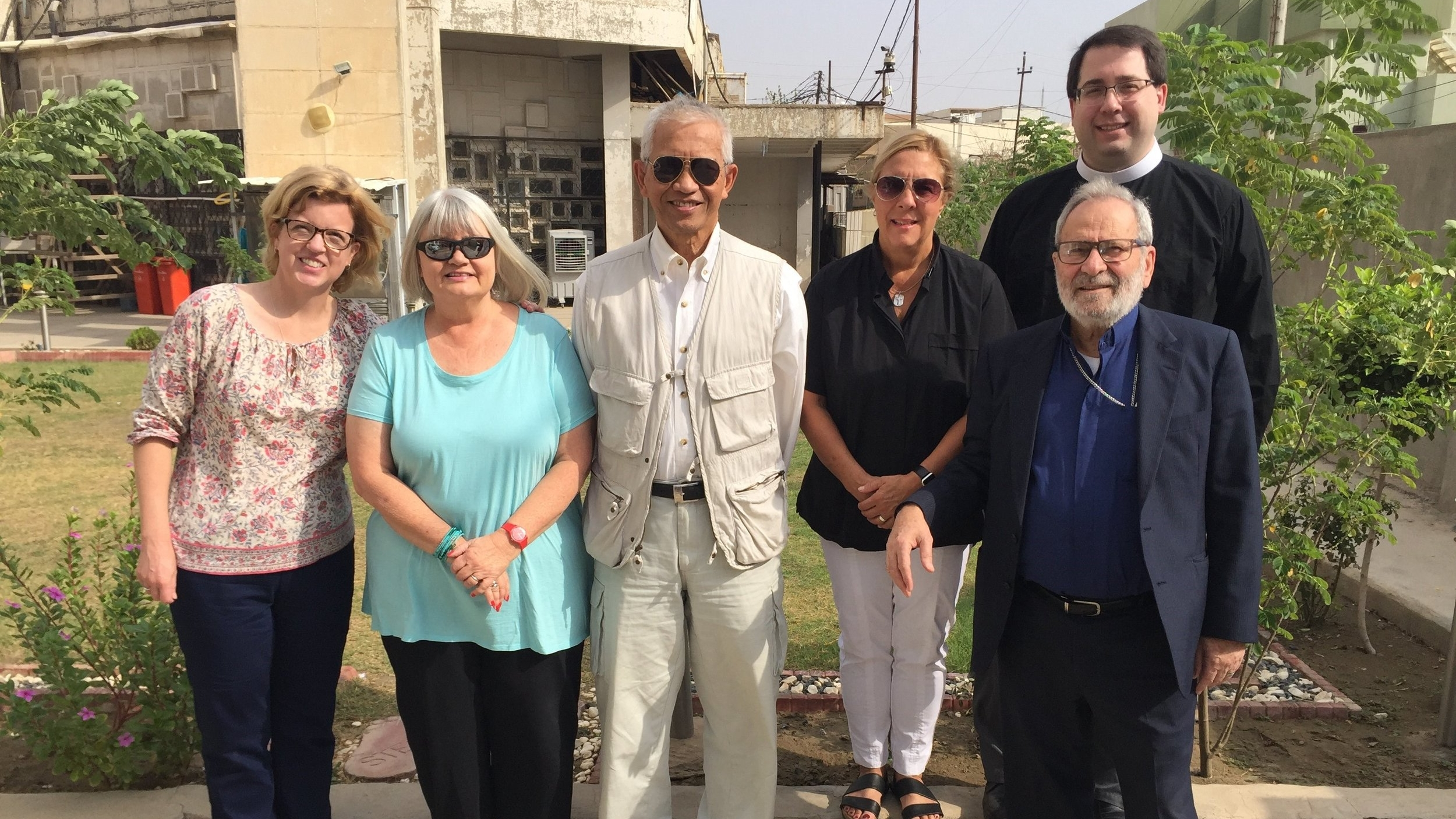 Outreach team at Kirkuk Church, l to r, Gretchen Tilly, Marilyn Borst, Sichan Siv, Ginny Teitt, Tony Lorenz  and Nuhad Tomeh in front