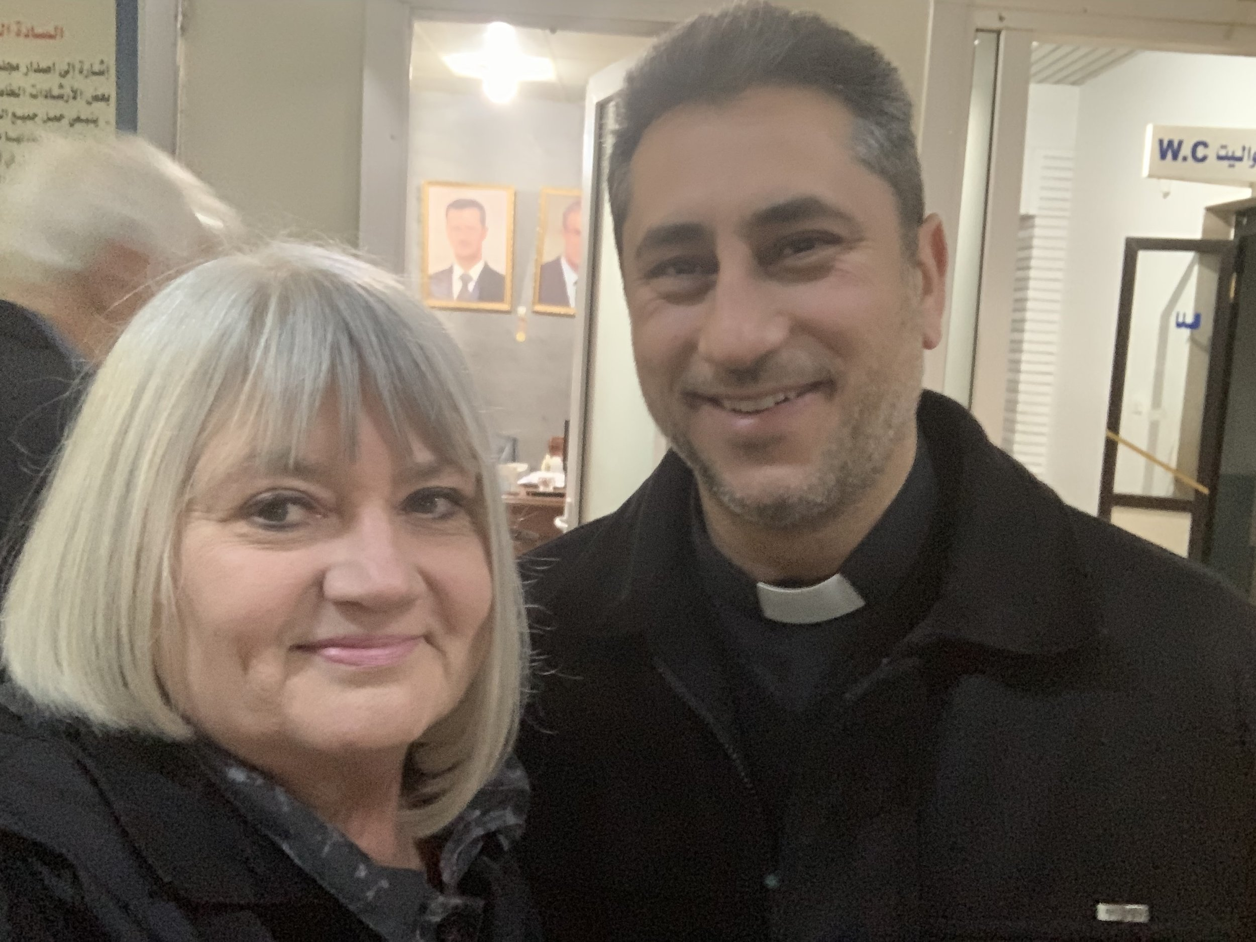 Marilyn with Rev. Firas Ferah, pastor of Qamishli Church in northeast Syria
