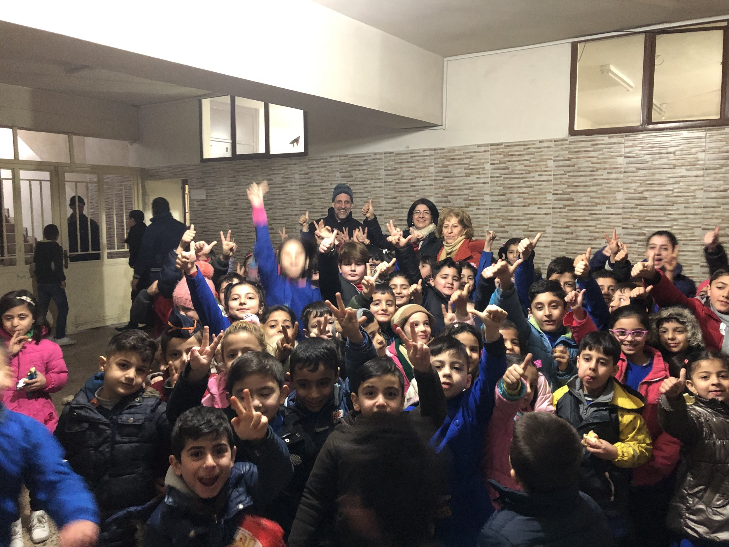 A sea of children at the evangelical school in Qamishly