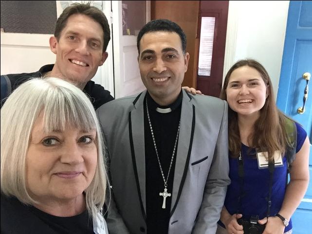 Rev. Shenouda Girgis (center) with Marilyn, Rev. Andrew Dickinson (First Presbyterian Church,  Douglasville, GA) and Carson Crochet (Clairmont Presbyterian Church)