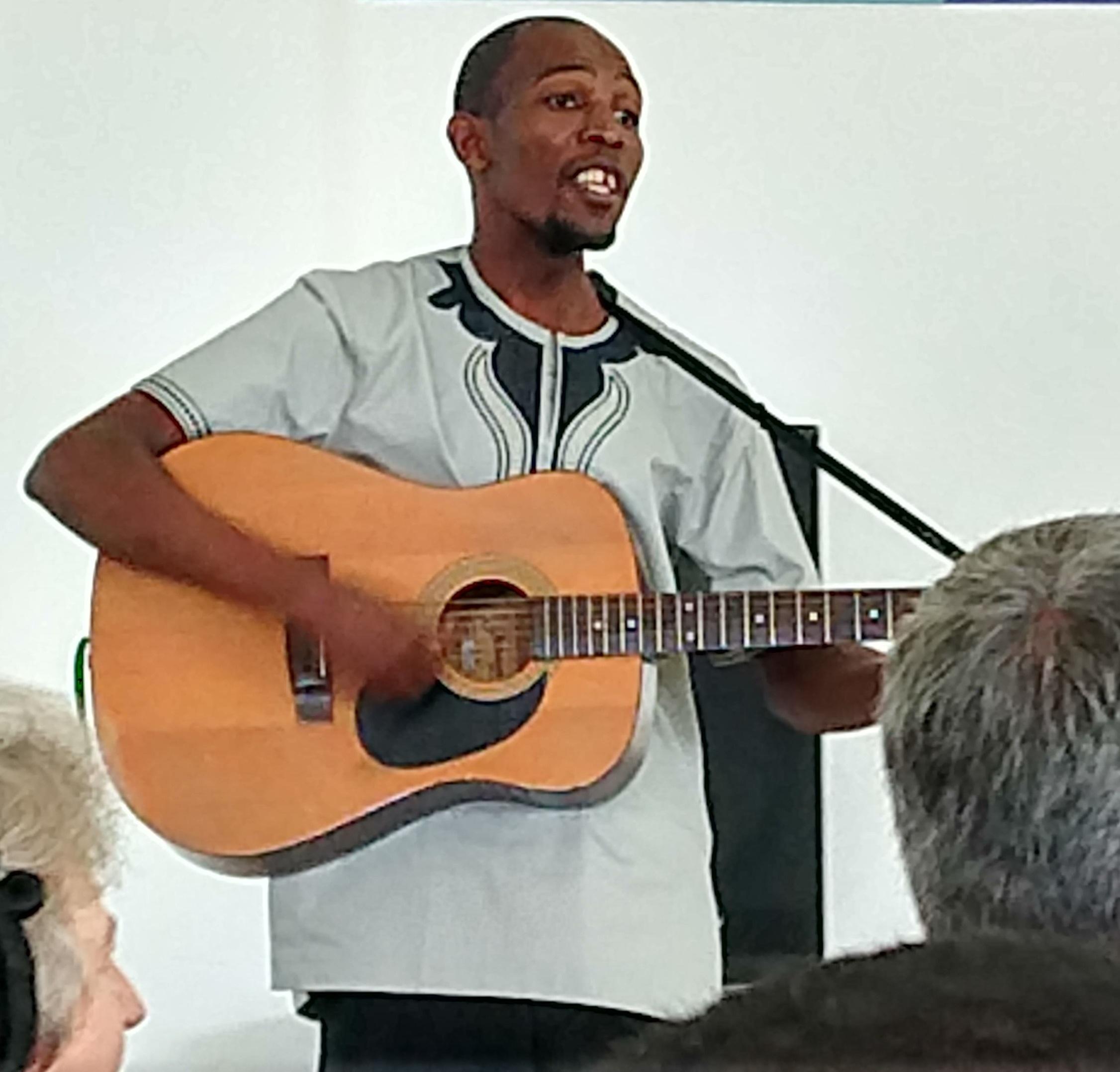 During Justo Mwale University chapel, José Bazima sings a worship song he has written.