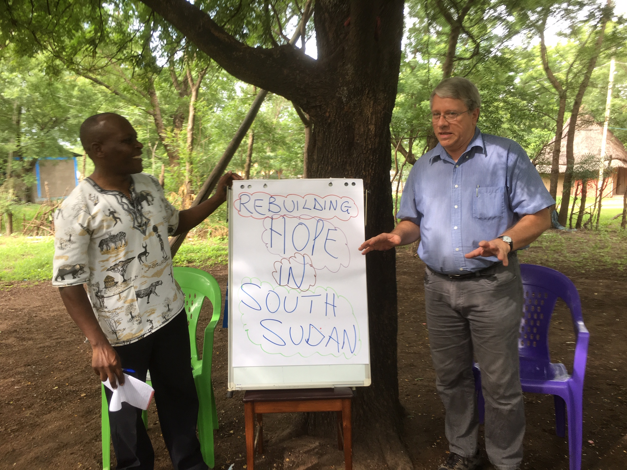 """Frank and Thaddeus presenting the TOF Program to help """"Rebuild Hope in South Sudan"""""""