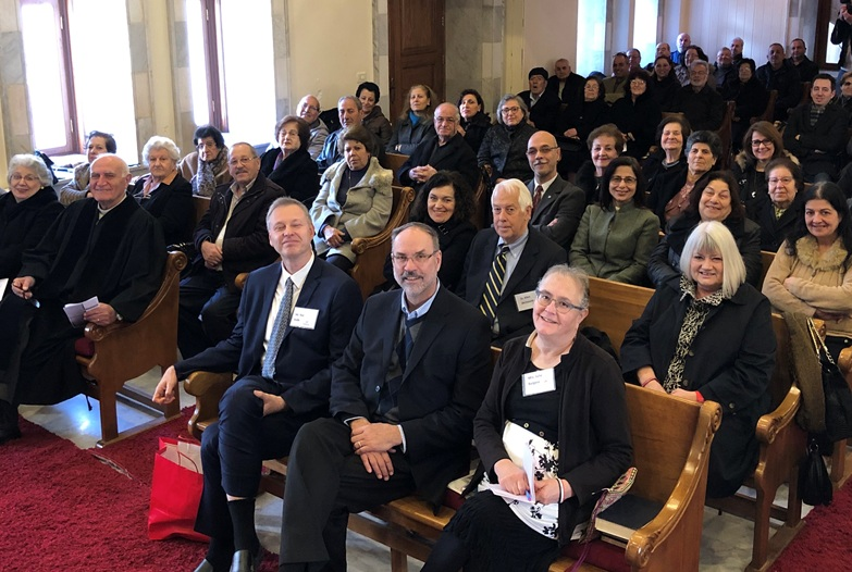 Life resumes in Homs: Sunday worship with the Outreach team in attendance (front row, l to r, Ted Kulik, Steve Burgess, Julie Burgess)
