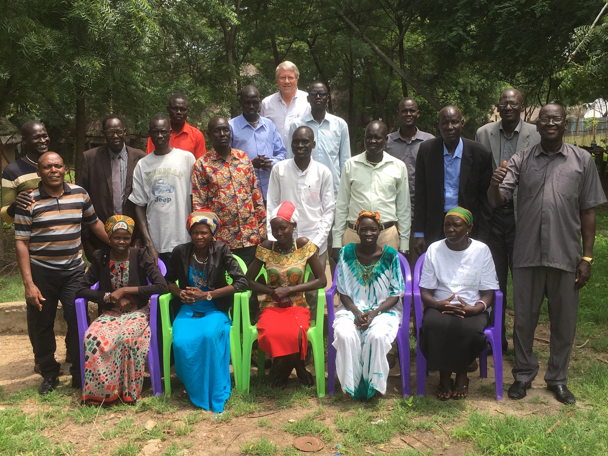 Advanced trainees at the completion of training: 5 women, 10 men, together with Sudanese-Americans and Kenyan, Sudanese and American facilitators. Great group!
