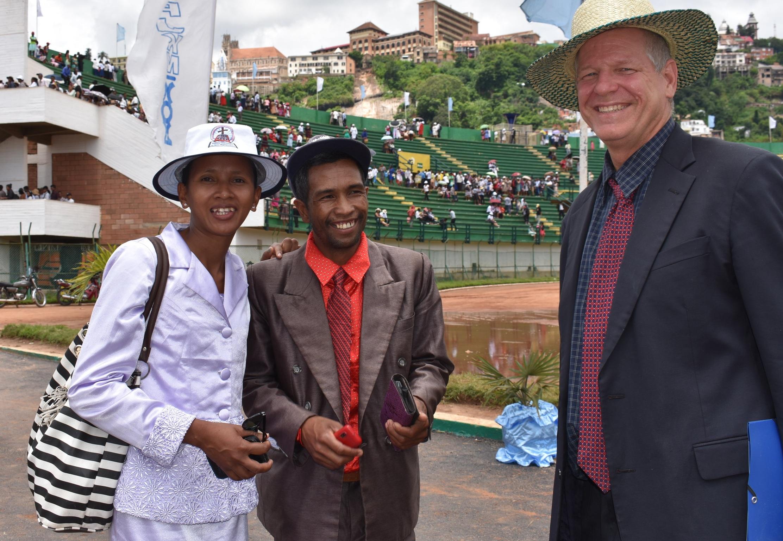 Pastor Clara and her husband Pastor Fetra Randriamanjatomanana with Dan at the national stadium, Antananarivo after the FJKM worship service