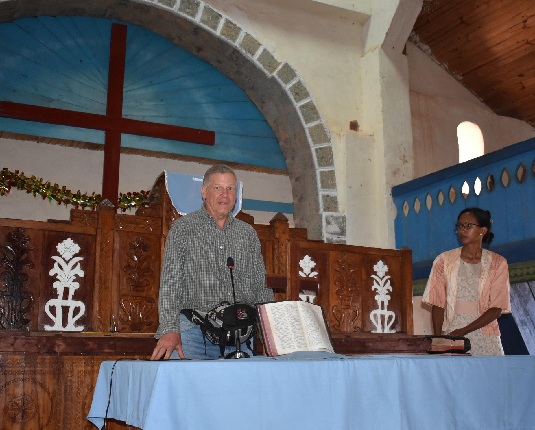 Dan and Pastor Clara Ranorosoahanitra in the Ambalafeno FJKM church
