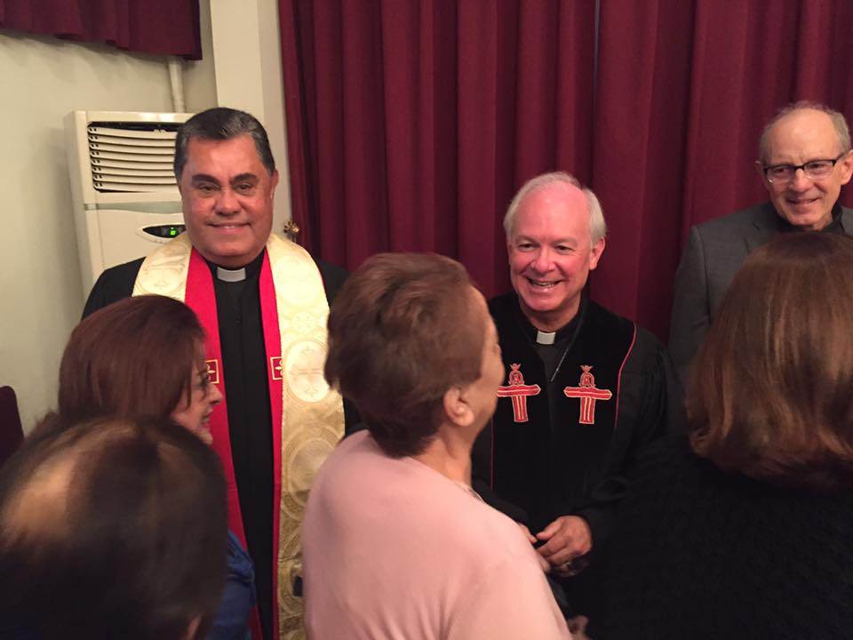 Three assises in the receiving line after worship Butros Zaour, Damascus-Jack Baca, Rancho Santa Fe, CA-Rob Weingartner, TOF.jpg