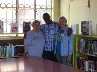 Dana Gary, left, and Margaret Ellis with Books for Development