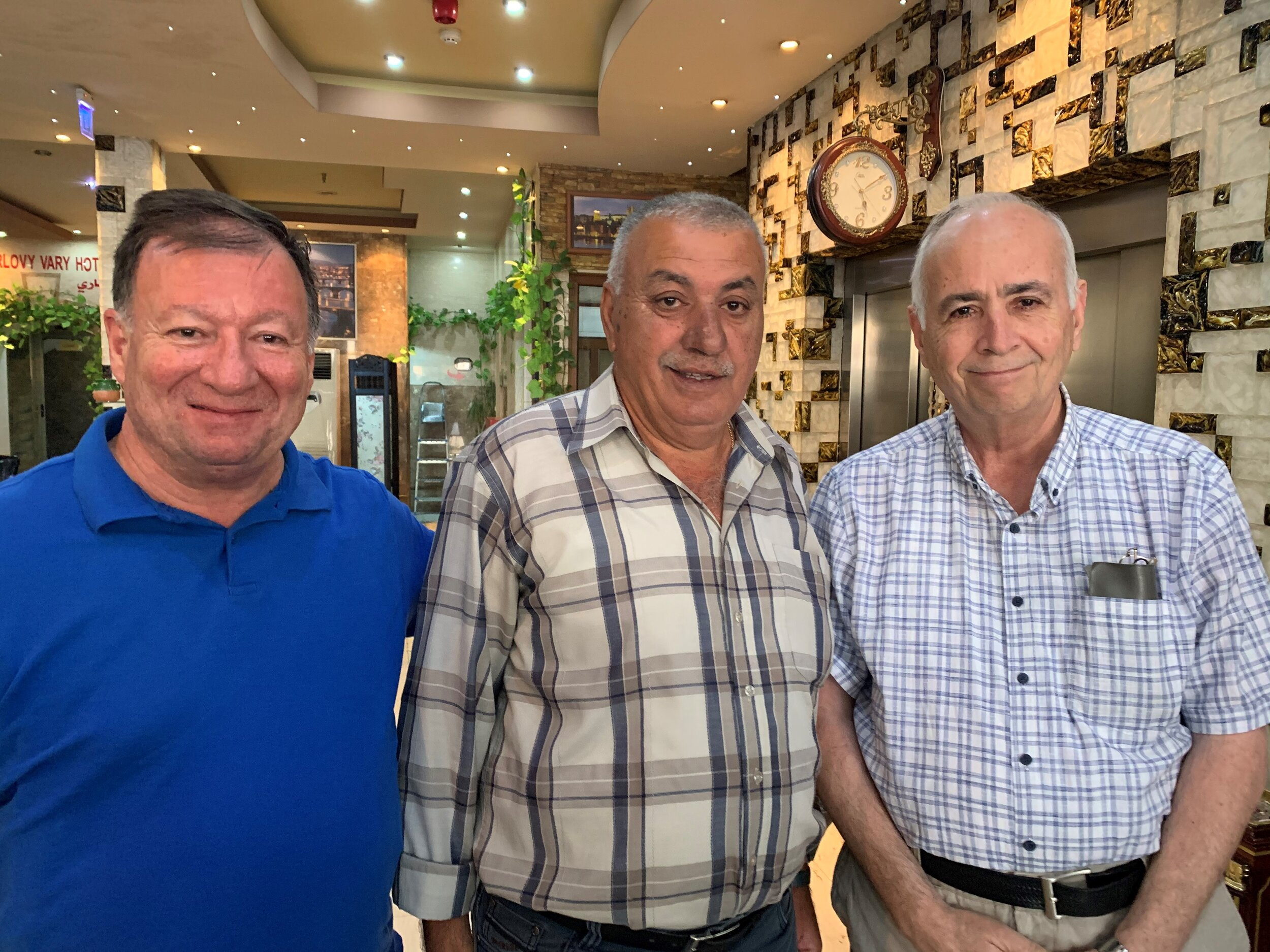 Some of our Iraqi Presbyterian family greeting us at our hotel in Erbil: Rev Haitham Jazrawi, Elder Amman Daood, Rev Farouk Hammo