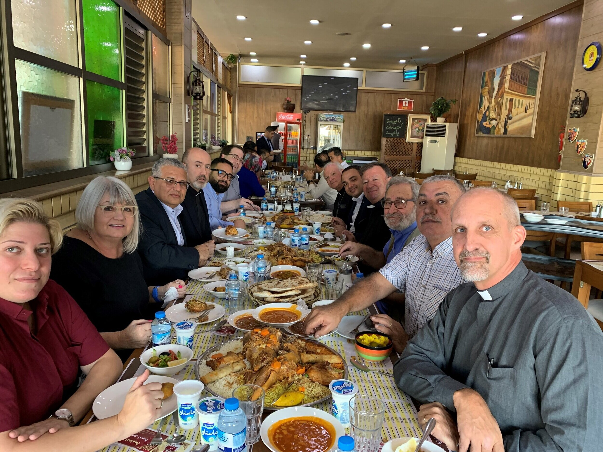In between visits with the Archbishops, our Iraqi Presbyterian hosts invited us to a traditional dinner of roast lamb