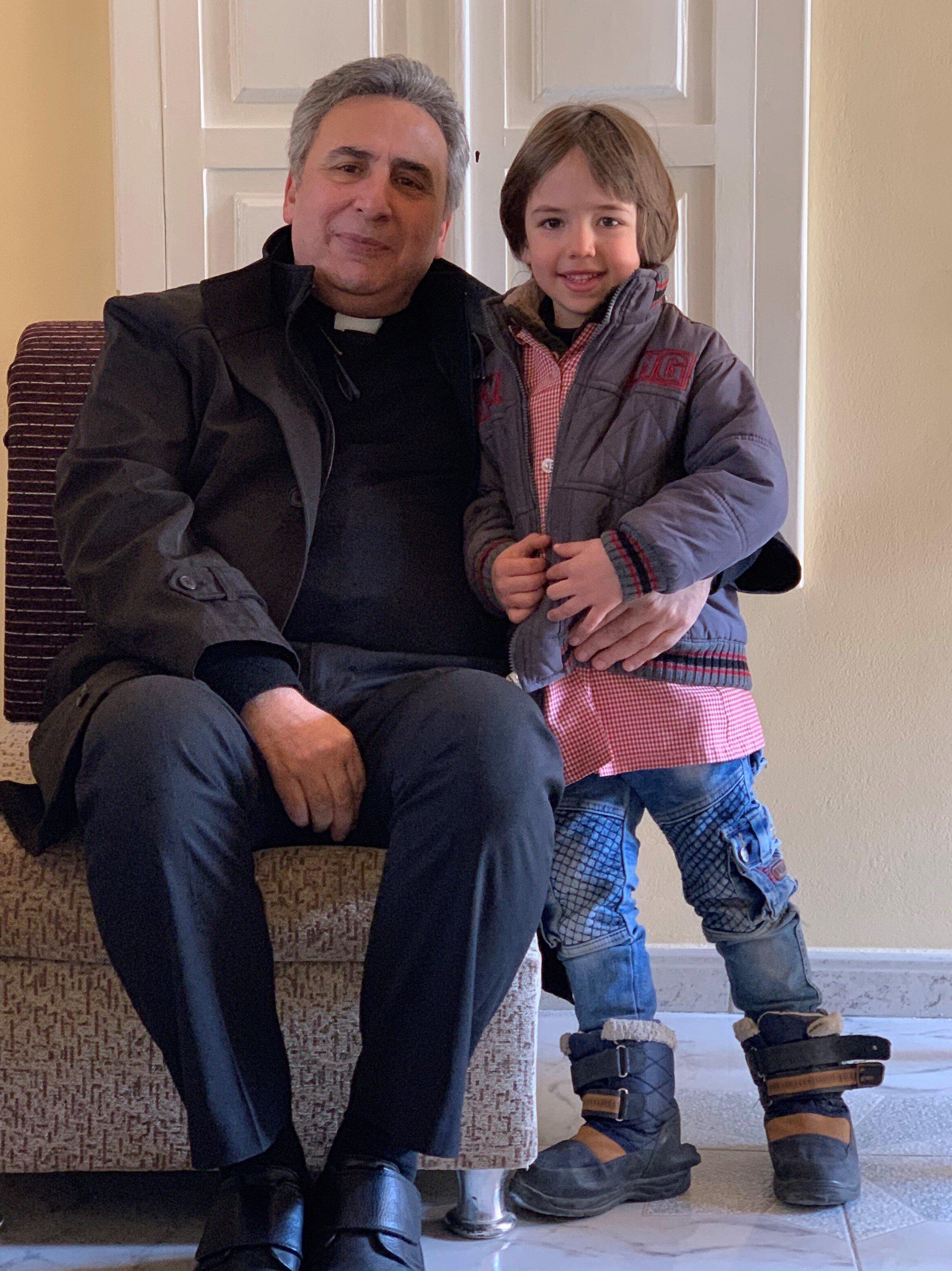 Rev Joseph Kassab on our visit to Nabek Church. Last fall, Joseph baptized young Christian, seen here.